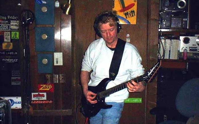 2003- laying down guitar tracks in the studio